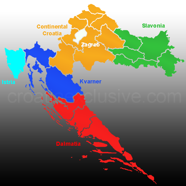 Map of Croatia Regions, Croatia regions map